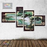 Mão pintura a óleo moderna pintura a óleo abstrata na lona arte da parede pinheiro e sun cenário pictures for living room home AR-008