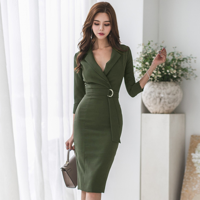 2ffa4e3b8e176 US $23.49 45% OFF|Sexy Army Green Notched Collar Bodycon Female Dress OL  Style Lace Up Mid length Women Dress Slim Waist Hip Package Vestidos  2018-in ...