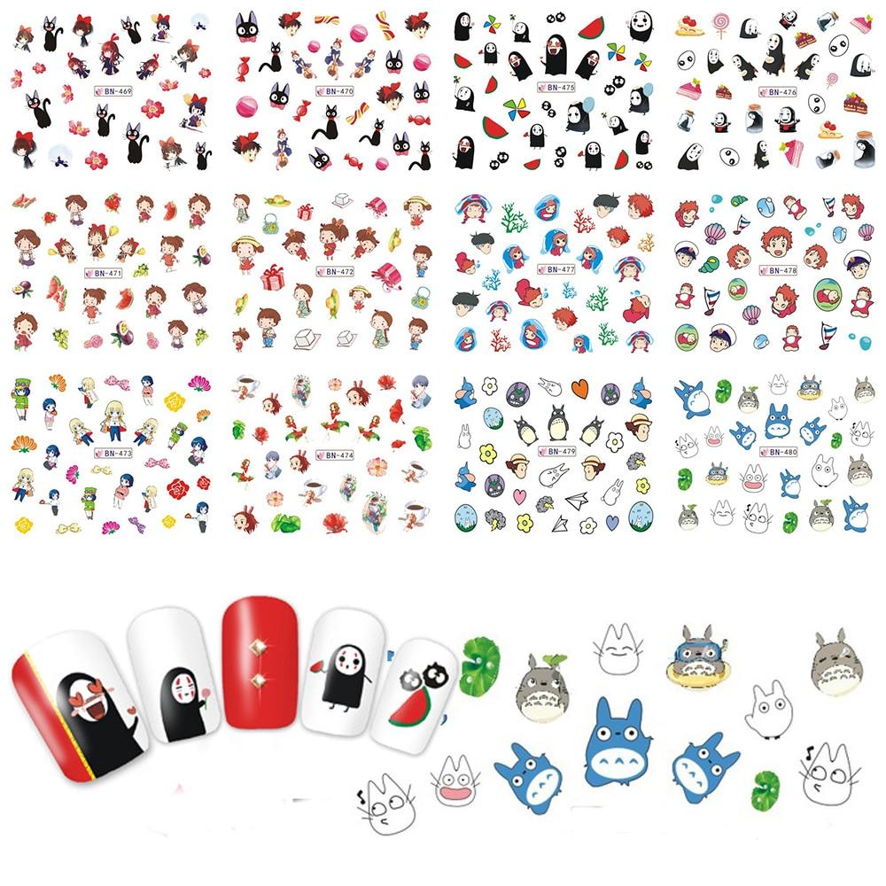 купить 12pcs Cute Totoro Cat Nail Sticker Water Transfer Nail Art Decal  Nails Slider Manicure Tips BN469-480 по цене 67.91 рублей