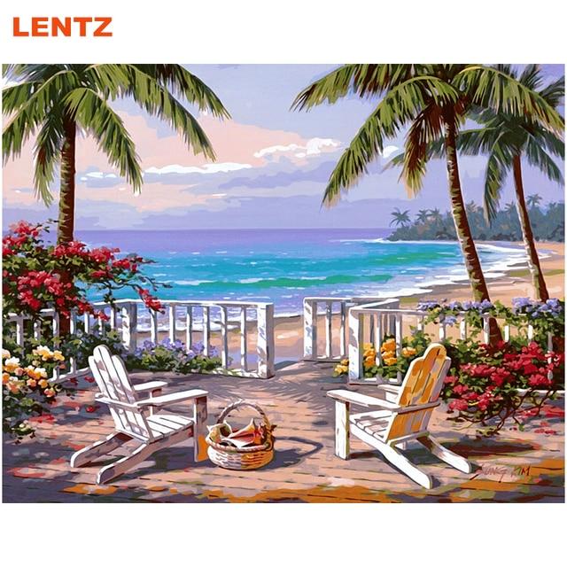 beautiful landscape sea beach oil