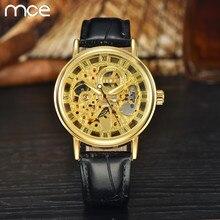 2016 Nueva Moda MCE marca de Lujo Hombre automático reloj de oro Mecánico esquelético del reloj de los hombres de cuero Negro reloj de los hombres a prueba de agua
