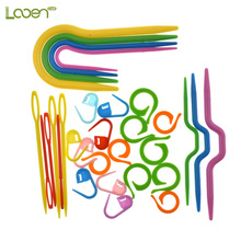 53 Pcs 5 Sets ABS Plastic Knitting Cable needles Stitch Knitting Needles Smooth U Crochet Hook & L Needles Markers Needle Clip