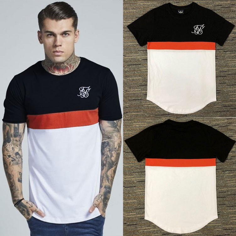 Fashion Kanye West T-Shirt Sik Silk Men Casual Hip Hop Irregular cut Zipper Short Sleeved T-shirts Patchwork T-Shirt Black navy