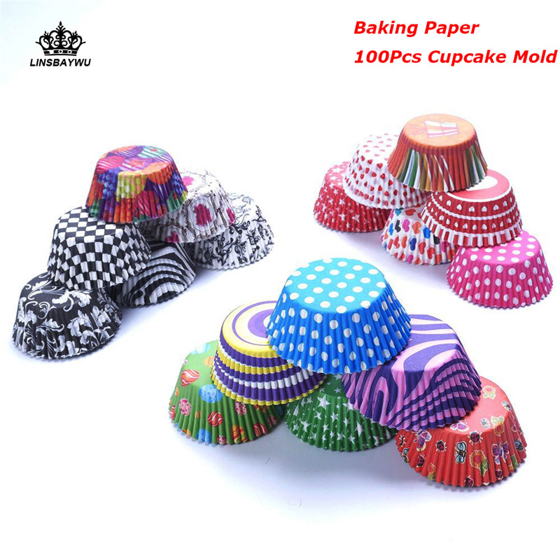 100Pcs/set  Eco Friendly Grease-proof Paper Cup Cake Wedding Utility Cake Baking Paper Cup Muffin Cases Home Party