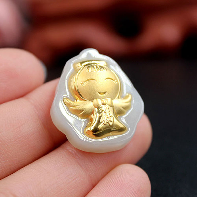 Natural Hetian White Jade Inlay 24K Gold Pendant Child Angel Necklace Pendant Men And Women Jade Jewelry Gift