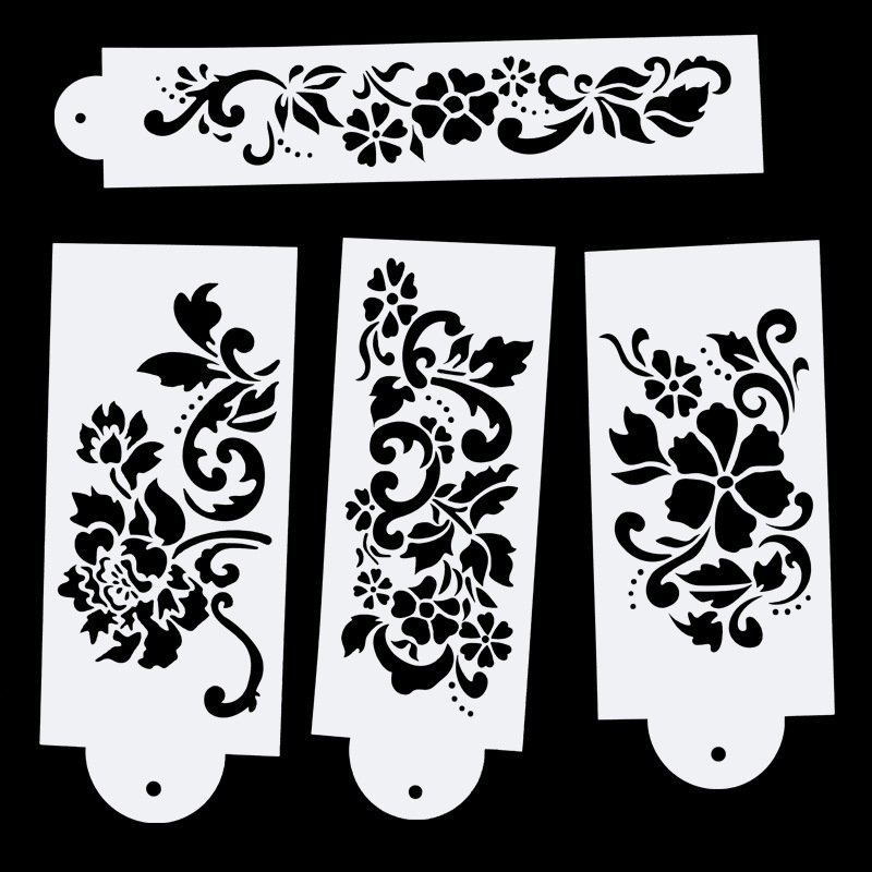 New 4Pcs/Set 27.5cm Flower DIY Layering Stencils Wall Painting Scrapbook Coloring Embossing Album Decorative Card Template