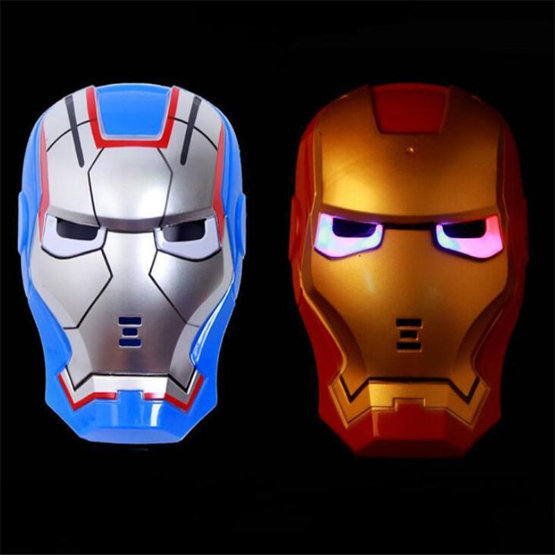 The Avengers LED Glowing Style Mask Prop Iron Man Superhero Anime Toy Accessories Christmas Party Halloween Cosplay For Kids