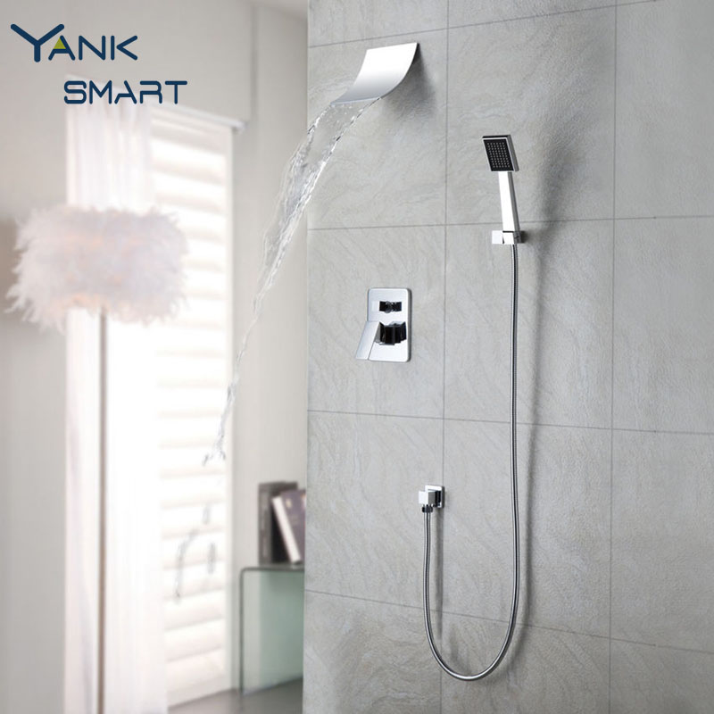 Good Quality Mordern Waterfall Shower Faucet Set With Hand Spray Chrome Finish Wall Mount Shower Mixer Taps free shipping polished chrome finish new wall mounted waterfall bathroom bathtub handheld shower tap mixer faucet yt 5333