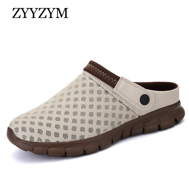 ZYYZYM 男性サンダル 2019 新しい夏の換気ユニセックススタイルのファッションライト空カジュアルビーチスリッパ男性靴大サイズ 36 -46