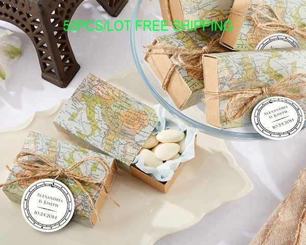 50pcslot unique candy box around the world map wedding favor box for wedding decoration gift box and bridal shower favor box in gift bags wrapping