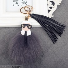 Fluffy Big Brand Genuine Raccoon Fur Pompom Monster Bag Bugs Charm Keychain Plush Key Ring Leather