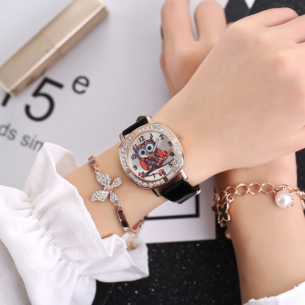 2018 Hot Sale New Silicone Rubber Strap Rhinestone Owl Watches Women Fashion Casual Quartz Watch Ladies Sport Wristwatches &Ff