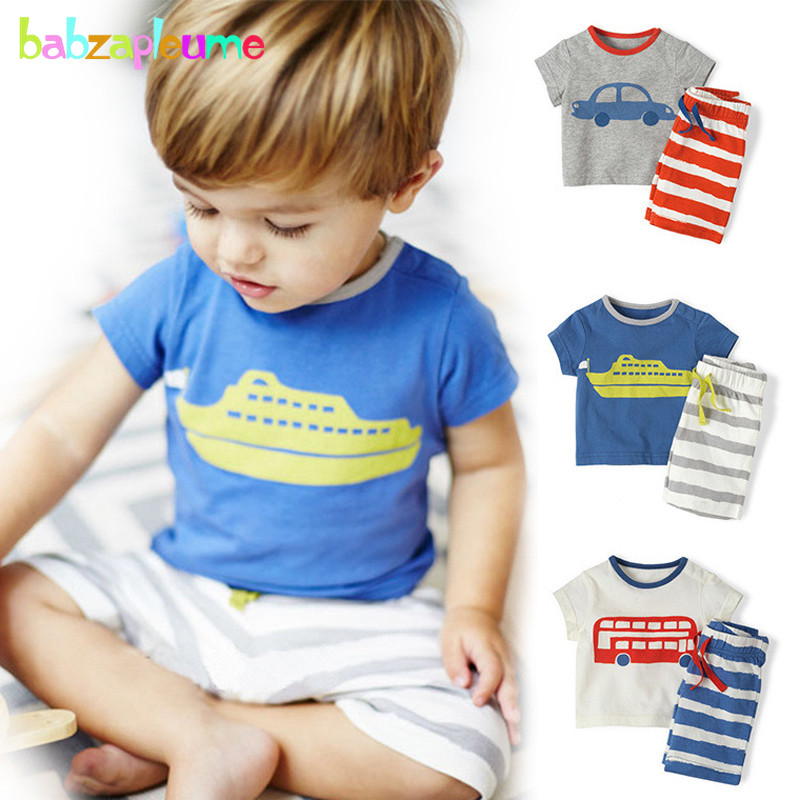2Piece/0-5Years/Summer Baby Boys Sets For Kids Suits Children Clothing Cartoon Cute T-shirt+Stripe Shorts Toddler Clothes BC1228