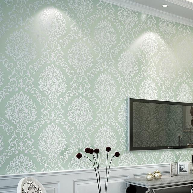 estilo europeo d rollo de papel de pared para habitacin ropa de cama de damasco azul