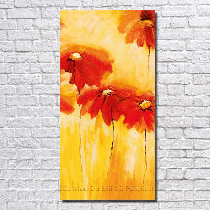 Big Size Free Shipping 100% Hand Painted Red Flower Oil Painting On ...