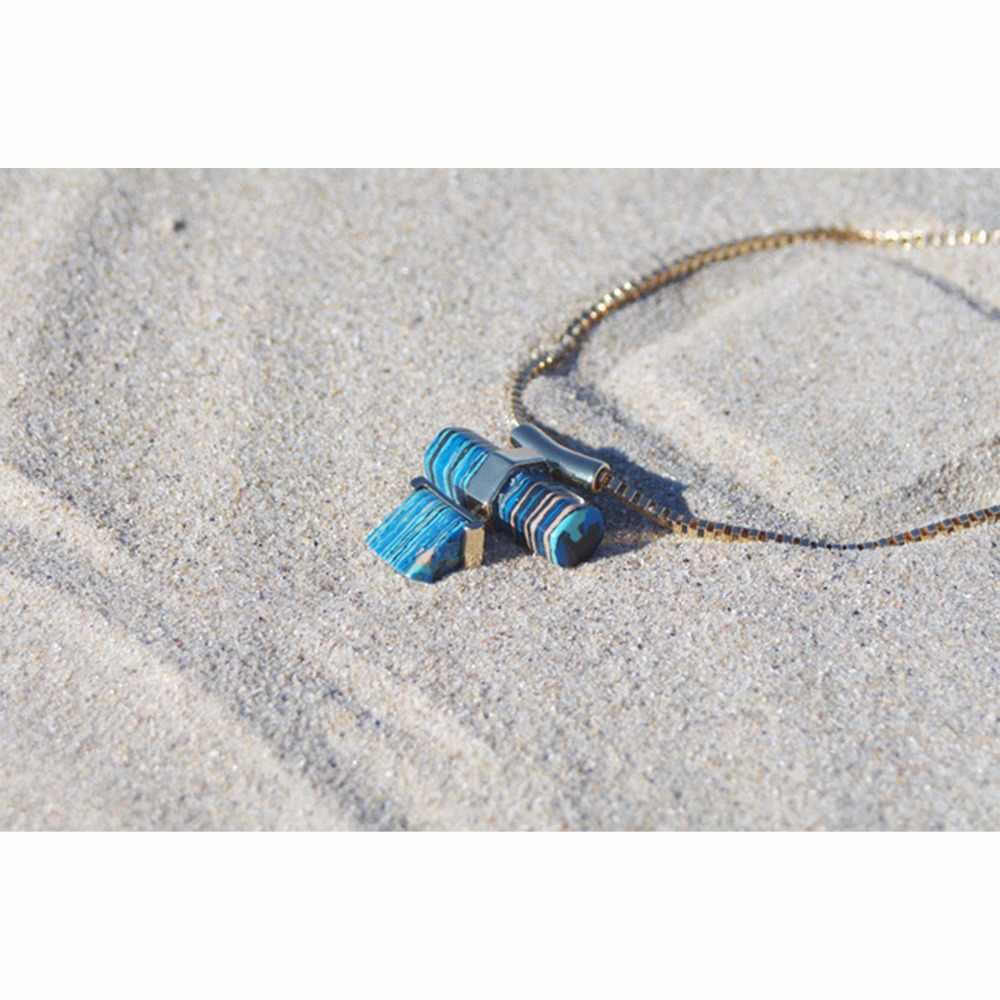 eManco бирюзовый кулон ожерелье для женщин геометрических каменные Чокеры сплав цинка цепи ссылку ожерелье collares Популяры Mujer