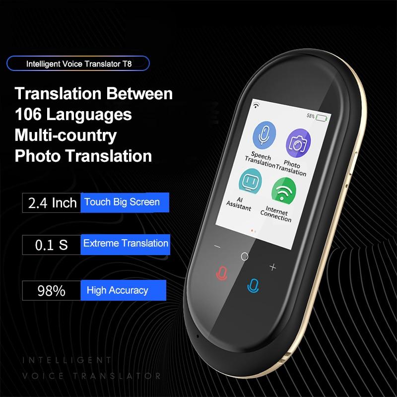 Portable T8 Translator Voice Translation Muama Enence Tradutor 2.4 Inch Photo Translate 104 Languages Translator Translaty Pro