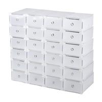 24pcs Foldable Plastic Shoe Boxes Universal Home Organizer Stackable Storage Drawer Transparent Home Holding Box