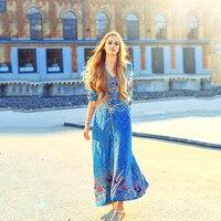 Andador богемное пляжное макси платье с цветочным принтом летнее женское повседневное сексуальное платье с коротким рукавом этническое круже...