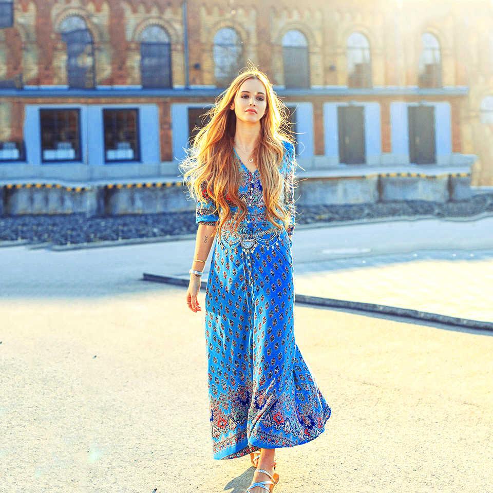 Andador богемное пляжное макси платье с цветочным принтом летнее женское повседневное сексуальное платье с коротким рукавом этническое кружевное вечернее платье