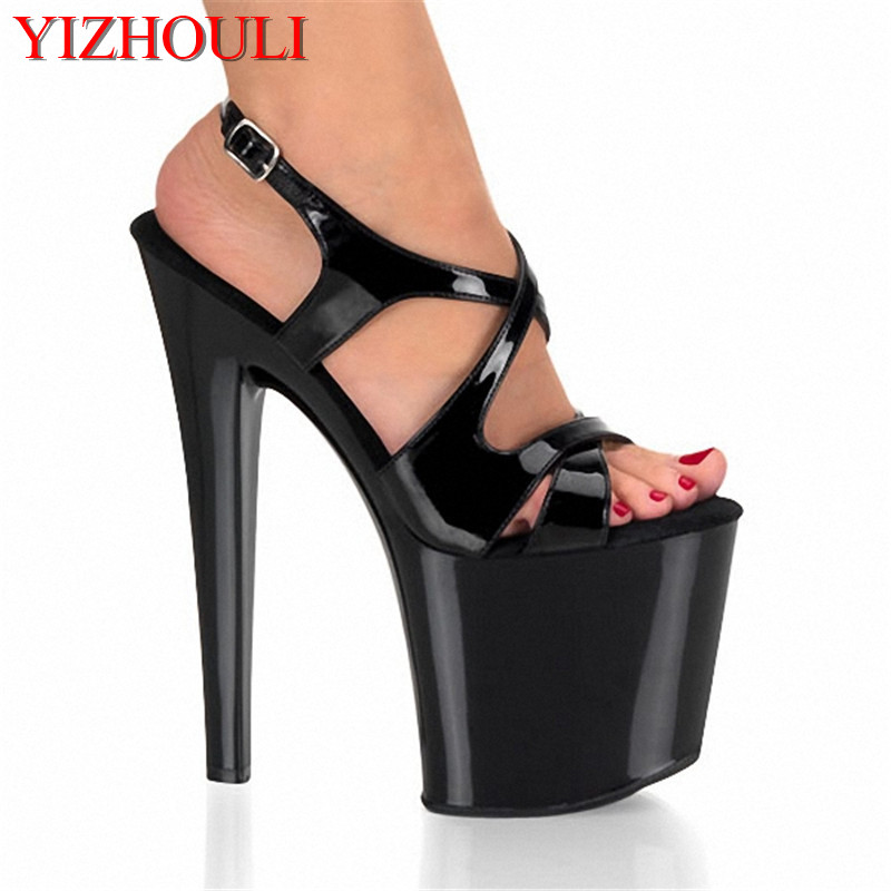 Sexy Ultra 20CM High Heel Sandals Women's High Heel Platform Shoes,Pole Dance/Model/Wedding Shoes (3 colors) classic black 20cm open toe sandals super high heel platform pole dance shoes gorgeous punk 8 inch sexy rivet cover heel sandals