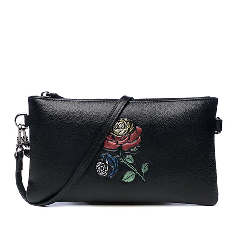 Fashion Rose Hand Clutch Bag Wallet Zipper Purse Genuine Leather Day Clutches Women Money Bag Card Holder Wristlet Mujeres Bolso chinese style vintage embossing genuine leather hand clutch bag celebrity day clutches women shoulder bag purse wallet phone bag