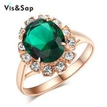 Фотография Vissap 18K Rose Gold Plated Emerald Rings for women wedding Bijoux Jewelry luxury cz diamond Accessories Wholesale V18KR013