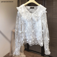White Lace Blouse Women Kawaii Frill Peter pan Collar 3D Three dimensional Appliques Embroidery Lace Top Summer Sheer Lace Shirt
