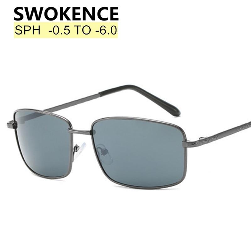 SWOKENCE SPH -0.5 To -6.0 Prescription Sunglasses Glasses For Myopia Men Women Gray Lenses UV400 Spectacles Shortsighted WP020