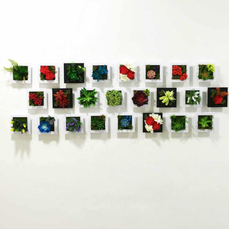 Nuovo 3D Fatti a Mano Metope Succulente Piante Piante di Imitazione di Legno Photo Frame Decorazione Della Parete Fiori Artificiali Della Decorazione Della Casa