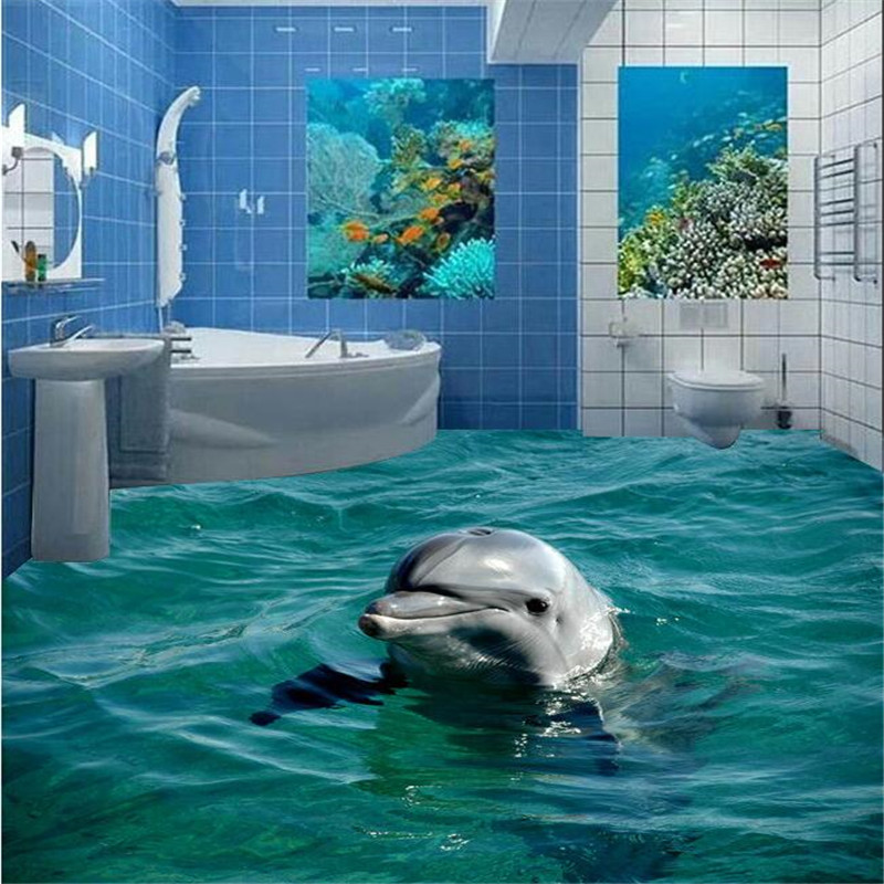 beibehang Wall Paper 3D Bathroom Cute Dolphin Underwater World Living Room Bedroom Self-adhesive Floor Mural painting sticker  custom 3d floor painting wallpaper stone steps sunshine pvc self adhesive living room bedroom bathroom floor sticker wall mural
