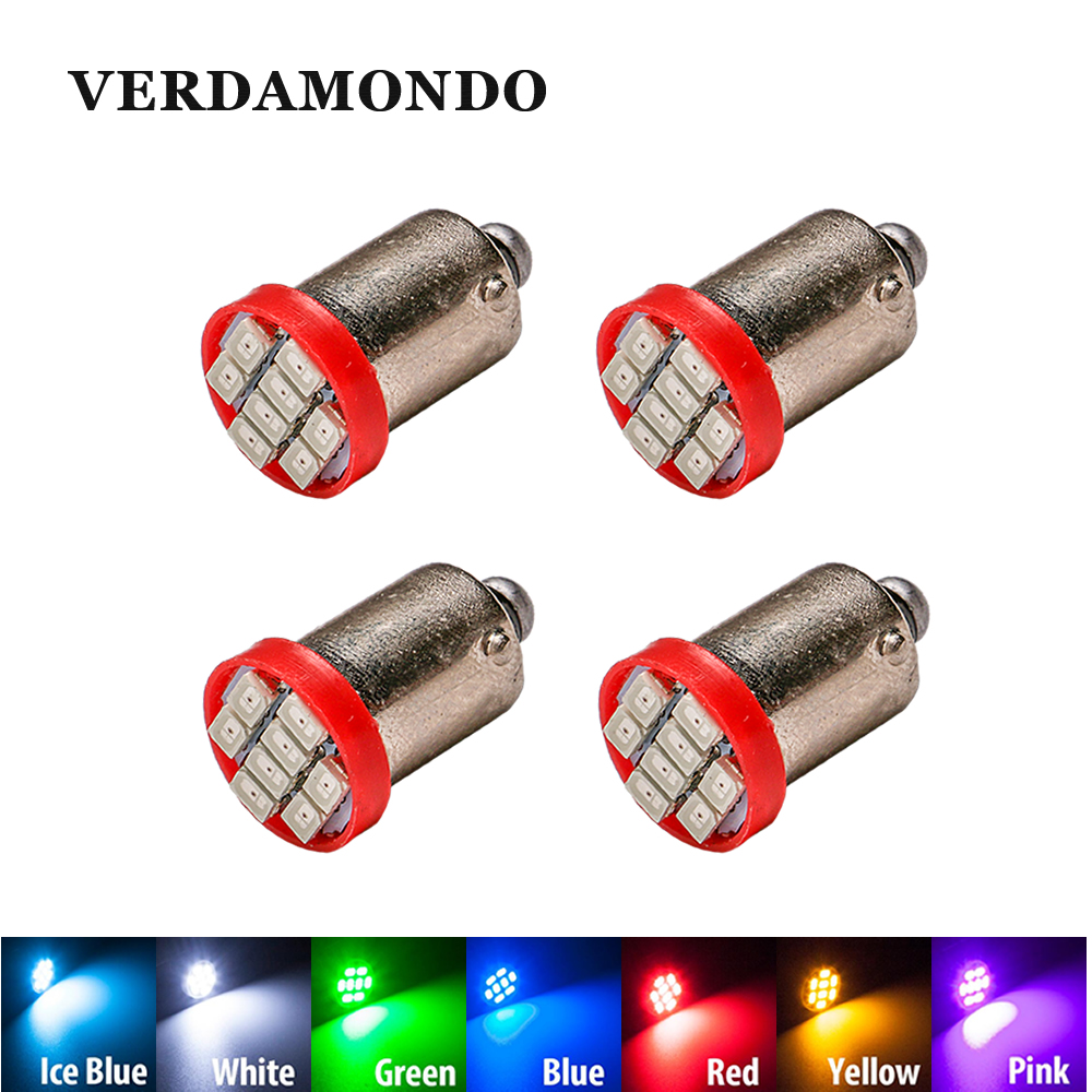 4 Pcs High Quality T4W BA9S 8 SMD 1206 LED Interior Light 3020 8smd Wedge Auto Reading Dome Lamps Car Marker Light 12V 7 Colors
