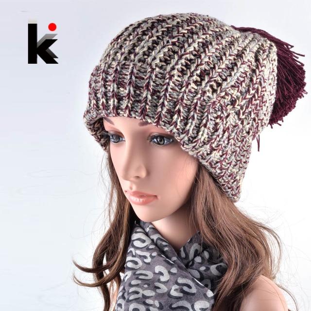 ebf638cca1fd6 2018 moda invierno sombreros para las mujeres gorros Harajuku Oversized  Pompons Beanie sombrero hechizo Color sombreros