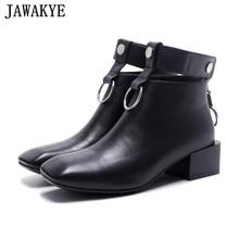 Botas curtas de couro de vaca para as mulheres primavera antumn sapatos casuais grande anel de metal decoração de volta zipper 2018 botas de tornozelo feminina