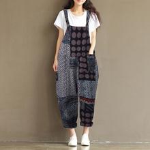 ZANZEA Women Summer Dot Print Strappy Retro Cotton Linen Rompers Bib Overalls Loose Long Jumpsuits Baggy