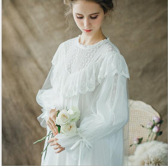 Vintage Nightgown Women Sleepwear Princess Queen Dress Nightgown Cotton  Home clothing Sleep dress a8ac01635a00