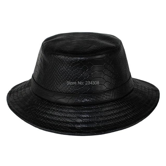 TOP Quality Snakeskin leather Dramatic Bucket Hat Hip Hop Accessory Fashion  leather Hat flexfit bucket hat Sole headwear d7f0a43efc8
