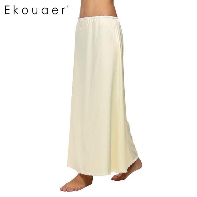 445f6fc4dbad8 Ekouaer Casual Women Satin Solid Lace Trim Maxi Half Slip Underskirt Slip  Skirt Loose Elastic Waist Half Skirt White Black Beige