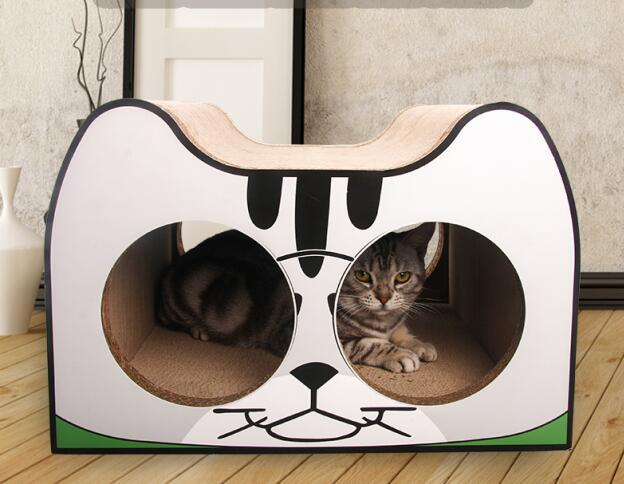 Papier de carton de lit de salon de griffoir de chat de visage de chat ultime de haute qualité avec l'herbe de chat-in Grattoirs from Maison & Animalerie    1