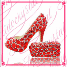 Aidocrystal 2016 New design high quality Wholesale peep toe Italian Matching red Shoe and Bag Set for party