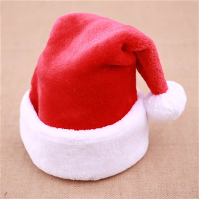 660aaf917020b 10pcs Christmas Hat Christmas Decoration Big Ball Thicken Santa Dress Up  High-end Short Plush Christmas Cap for Adult and Child