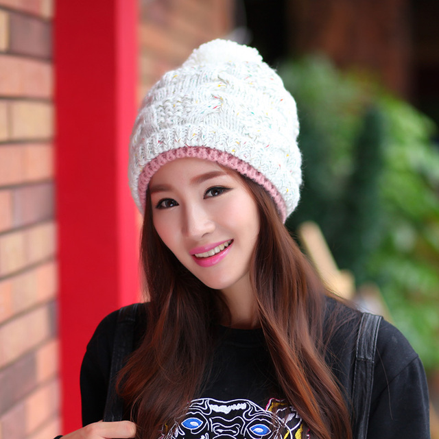 Fashion Female Ladies Winter Knitted Sweet Soft Warm Motley Contrast Color  Poms Skullies Tobaggans Women Beanies 573419e8d59b