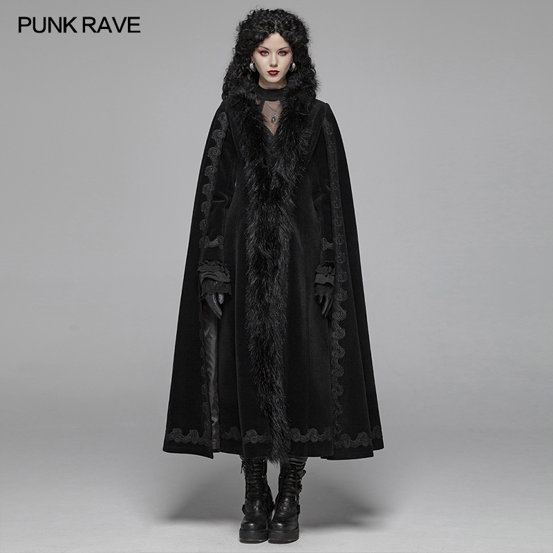 PUNK RAVE Women's Gothic Vintage Gorgeous Long   Trench   Evening Party Halloween Stage Performance Cosplay Women Coats Cape