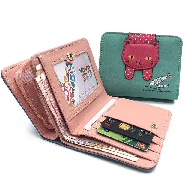 Women Cute Cat  Small Zipper Wallet
