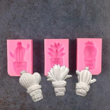 Nuevo molde Fondant de silicona con forma de Aloe en macetas de...