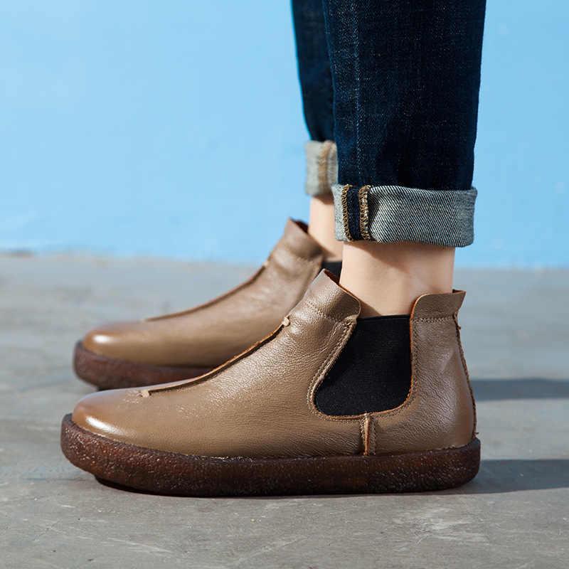 DONGNANFENG Kadın Kadın Anne Bayanlar Retro Ayakkabı Çizme Daireler PU Inek Hakiki Deri Kayma Sakız Kauçuk Boyutu 35- 42 XR-1026