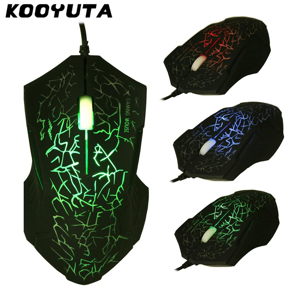 KOOYUTA Promotion Special Shaped <font><b>3</b></font> Buttons USB Wired Luminous Gamer Computer Gaming Mouse <font><b>7</b></font> Colors For Laptop Desktop 3200DPI GT image