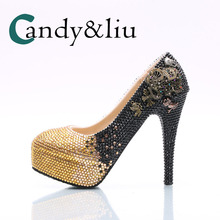 Black and Gold Gradient Crystal Wedding Shoes Dazzling Super High Heel Pumps  for Bridal Women Round. 4 Colors Available f32132d6d5e5
