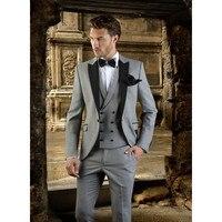 Xám Men Suit Slim Fit Prom Wedding Party Tuxedo Custom Thực Hiện Hiện Đại Blazer Wedding Groom Suits (Áo + Quần + Vest) K588