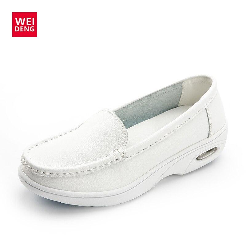 WeiDeng Non Slip Professional Nurse Shoe Women Genuine Leather Antiskid Flat Fashion Work Insert Working Soft Sole Casual